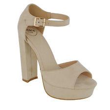 Womens Ankle Strap Sky High Heel Platform Sandals Ladies Peep Toe Party Shoes