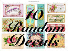 10 RANDOM FRENCH FURNITURE DECAL DIY SHABBY CHIC IMAGE TRANSFER VINTAGE LABELs