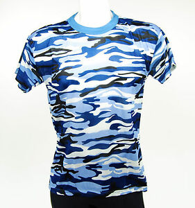 Blue Camouflage T-Shirt, Men's Size Small