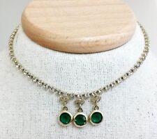 Vtg Emerald Green Open Back Bezel Clear Rhinestone Gold Tone Choker Necklace
