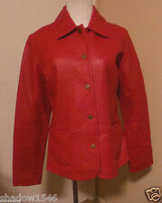 NWT LIZ CLAIBORNE RED Leather Snap Closure Blazer Jacket Size 8