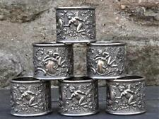 More details for fine set of six antique silver plated  napkin rings with putti's & cartouches
