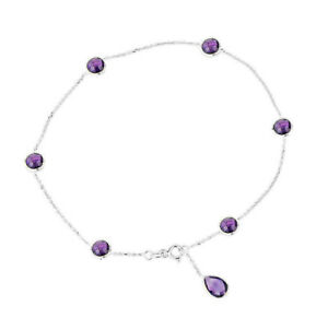 14K White Gold Anklet Bracelet With Amethysts and a Pear Shape Drop 10.5 Inches