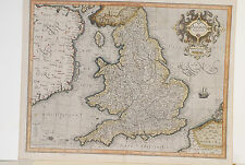 Anglia Regnum map, Judocus Hondius, 1606, has older repair, orig. coloring