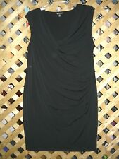George Black Sleeveless Stretch Polyester Knee Length Dress Size L NEW