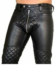 Men's Real Leather Pants Double Zips Pants Gay BLUF Breeches Lederhosen Jeans