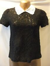 LADIES New Look 8 BLACK BROIDERIE ANGLAIS COTTON/COLLARED/CAP SLEEVE CASUAL TOP