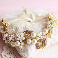 Wedding Bridal Prom Party Crystal Pearl Flower Gold Leaf Headband Hair Band Gift