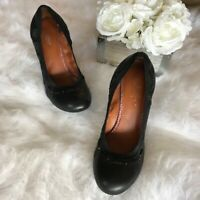 Lucky Brand -Size 9M/39- Women's Black Leather Wedge Heel Pumps Slip On Shoes