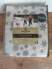 New Woolrich Tan/Grey SnowflakeTwin Sheet Set (3pc.) Soft & Cozy Flannel