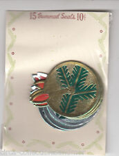 Christmas Greetings Gummed Stickers Foil Candles 1950s  Seal Scrapbook Crafts