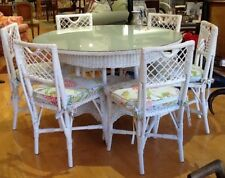 "Antique 1920's 48"" Glass Topped. White Round Wicker Table/6 Chairs."