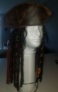 Captain Jack Sparrow Cosplay Synthetic Wig Handmade Leather Tricorn Hat, Banana.