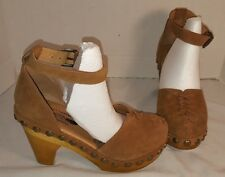 NEW FREE PEOPLE X JEFFREY CAMPBELL DAUBS CHESTNUT SUEDE CLOGS SHOES US 8 EUR 38