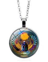 Collier Pendentif scarabée égypte Pharaon Symbole sacré, chaine argenté