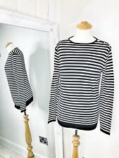 Zara Cashmere Silk Jumper Sweater Size M Medium Striped Print Beaded Winter