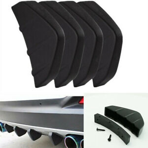 4Pcs Car Rear Bumper Lip Diffuser Shark Fins Black ABS Fit For Truck SUV Pickup