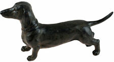 26cm Life Like Standing Dachshund Dog Figurine Ornament - Bronze Effect Colour