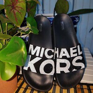MICHAEL KORS GILMORE ICONIC MK LOGO BLACK WHITE CRYSTAL SLIDES SIZE  8 NEW