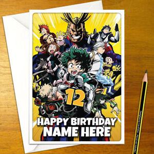 MY HERO ACADEMIA Personalised Birthday Card - personalized greeting - anime boku