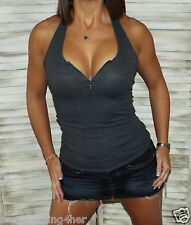 Sexy Low Cut V-Neck Zipper Cleavage Ribbed Stretch Halter Summer Top Gray L