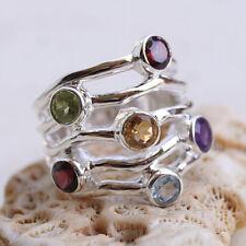 Silberring 54 Blautopas Granat Multi Stone Handarbeit Silber Ring Elegant Modern