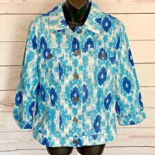 Chicos Linen Blend Jean Jacket Sz 1 S Ikat Print Vibrant Spring Hannalee Buttons