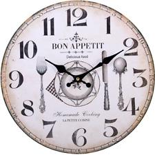 Vintage Style Wooden Rustic Effect Bon Appetit Design Wall Clock