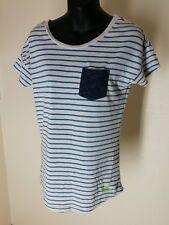 Womens Superdry Orange Label T Shirt Blue Strip X Small