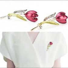 Elegant Tulip Brooch Pin Crystal Jewelry Clothes Accessories Jewelry Brooches