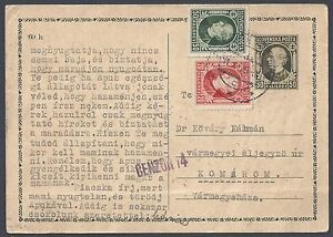 Slovenia 1939 Cencored Uprated Postale Scheda A Varmegyemaza