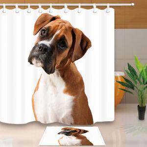 "Boxer Dog Pet Animal Decor Waterproof Bathroom Fabric Shower Curtain & Hooks 71"""