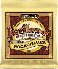 2 Ernie Ball 2008 Earthwood Bronze Rock and Blues Acoustic Guitar Strings 10-52