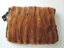 Vintage Real Fur Muff Brown Satin Lined Hand Warmer Wrist Strap
