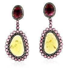 33.18ct Tourmaline Diamond 18k Gold Sterling Silver Dangle Earrings Jewelry
