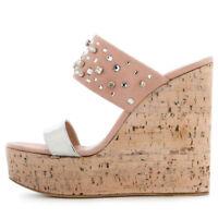 Women Peep Toe Cork Wedge Platform Mules High Heel Sandals Summer Shoes Slip On