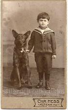 GERMAN SHEPHERD DOG black coat with boy in sailor dress antique CDV photo Altena