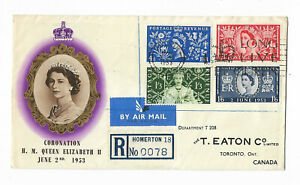GB 1953 Coronation set of 3 registered FDC to Canada with better cachet