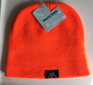 Orange Beanie Hat One Size Black Deer Patch Primos Hunting Solid Stretch Fit NWT