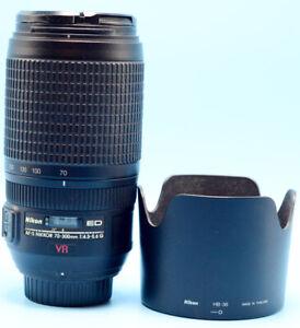 Nikon AF-S VR Zoom-Nikkor 70-300mm f/4.5-5.6G IF-ED Lens W/Caps & Nikon Hood