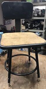 Vintage INDUSTRIAL STOOL steel metal chair seat steampunk factory drafting