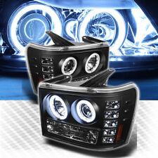 For CCFL Halo LED 07-14 GMC Sierra Pro Headlights Black Head Lights Lamp Pair