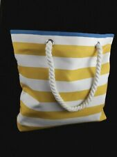 Clinique Blue Yellow White Striped Polyester Beach Tote Shoulder Bag