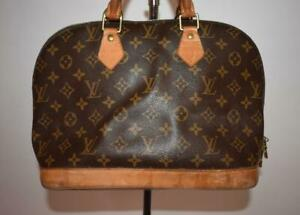Authentic VTG LOUIS VUITTON ALMA PM MONOGRAM Satchel Bag Purse Brown Zipper