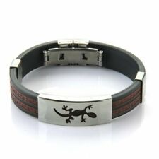 Stainless Steel Lizard Black Red Silicone Bangle Cuff Bracelet Men O8x5 S3i9