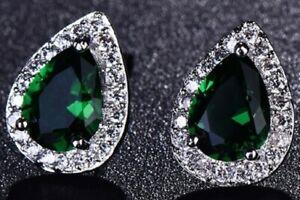 Emerald Green Zircon Faux Crystal Earrings Stud Tear Drop Teardrop Pierced E164