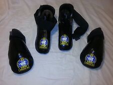 Karate Martial Arts Sparring Gear  Black Gloves Foot Guards Adult Small EUC