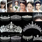 Bridal Princess rhinestone Crystal Hair Tiara Crown Veil Wedding party Headband