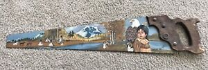 Vintage Hand Painted Signed Folk Art Saw Blade - Early American Landscape