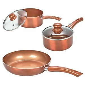 3 PC URBN-CHEF Saucepan Ceramic Copper Induction Cooking Frying Pan Cookware Set